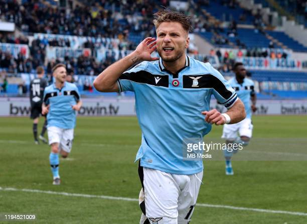 Ciro Immobile of SS Lazio celebrates after scoring goal 50 during the Serie A match between SS Lazio and UC Sampdoria at Stadio Olimpico on January...