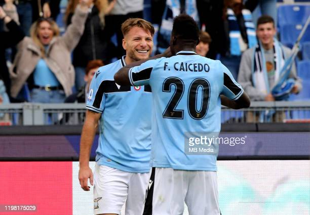 Ciro Immobile of SS Lazio celebrates after scoring his 2nd goal with his team mates Felipe Caicedo during the Serie A match between SS Lazio and SPAL...