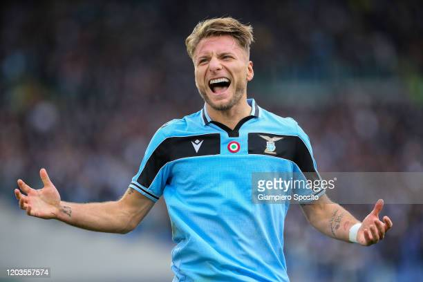 Ciro Immobile of SS Lazio celebrates after scoring his second goal during the Serie A match between SS Lazio and SPAL at Stadio Olimpico on February...