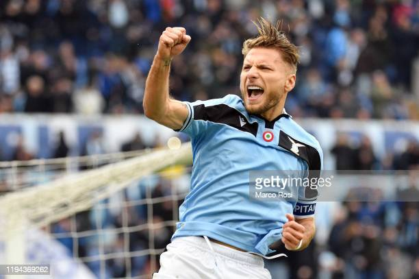 Ciro Immobile of SS Lazio celebrates after scoring his team's second goal from the penalty spot during the Serie A match between SS Lazio and UC...