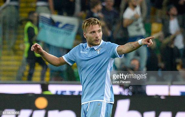 Ciro Immobile of SS Lazio celebrates after scoring his team's third goal during the Serie A match between Udinese Calcio and SS Lazio at Stadio...