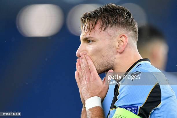 Ciro Immobile of SS Lazio celebrates after scoring second goal during the UEFA Champions League Group F stage match between SS Lazio and Club Brugge...