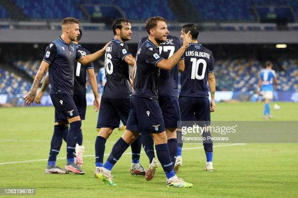 Ciro Immobile of SS Lazio celebrates after scoring the 1-1 goal during the Serie A match between SSC Napoli and SS Lazio at Stadio San Paolo on...