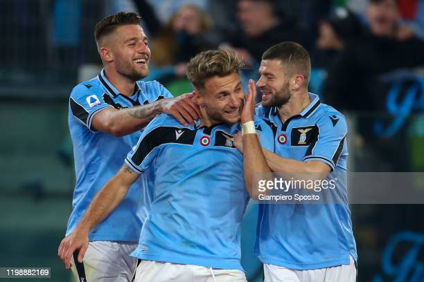 Ciro Immobile of SS Lazio celebrates after scoring the first goal of his team during the Serie A match between SS Lazio and SSC Napoli at Stadio...