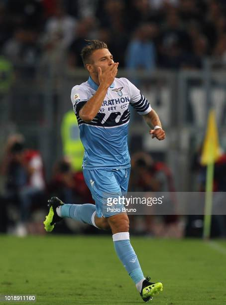 Ciro Immobile of SS Lazio celebrates after scoring the opening goal during the serie A match between SS Lazio and SSC Napoli at Stadio Olimpico on...