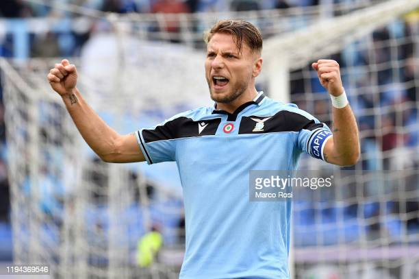 Ciro Immobile of SS Lazio celebrates after scoring the second goal from a penalty during the Serie A match between SS Lazio and UC Sampdoria at...