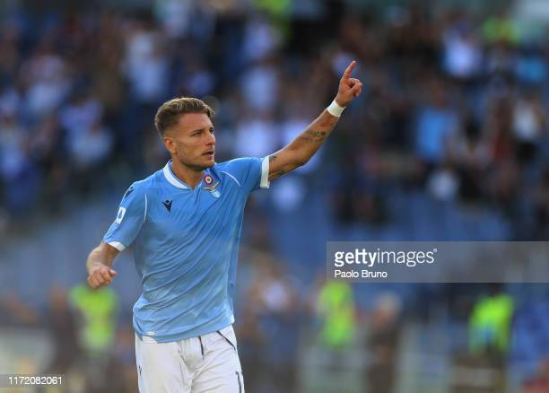 Ciro Immobile of SS Lazio celebrates after scoring the team's fourth goal during the Serie A match between SS Lazio and Genoa CFC at Stadio Olimpico...