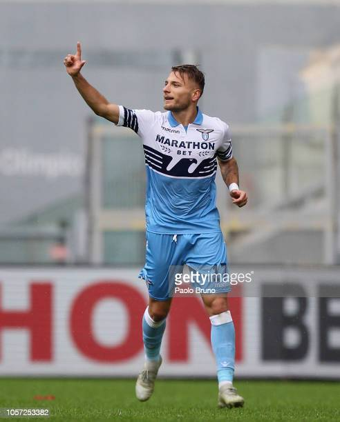 Ciro Immobile of SS Lazio celebrates after scoring the team's second goal during the Serie A match between SS Lazio and SPAL at Stadio Olimpico on...