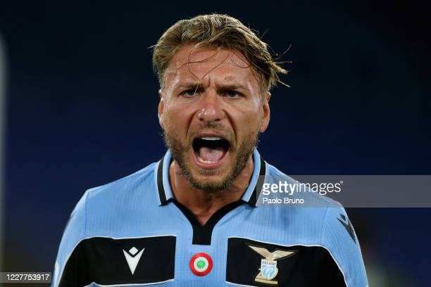 Ciro Immobile of SS Lazio celebrates after scoring the team's second goal during the Serie A match between SS Lazio and Cagliari Calcio at Stadio...