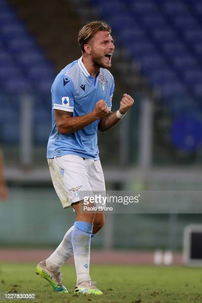 Ciro Immobile of SS Lazio celebrates after scoring the team's second goal during the Serie A match between SS Lazio and Brescia Calcio at Stadio...
