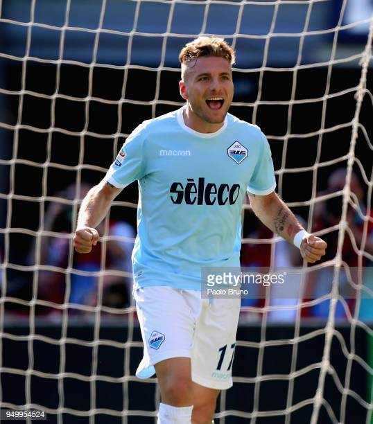 Ciro Immobile of SS Lazio celebrates after scoring the team's third goal during the serie A match between SS Lazio and UC Sampdoria at Stadio...