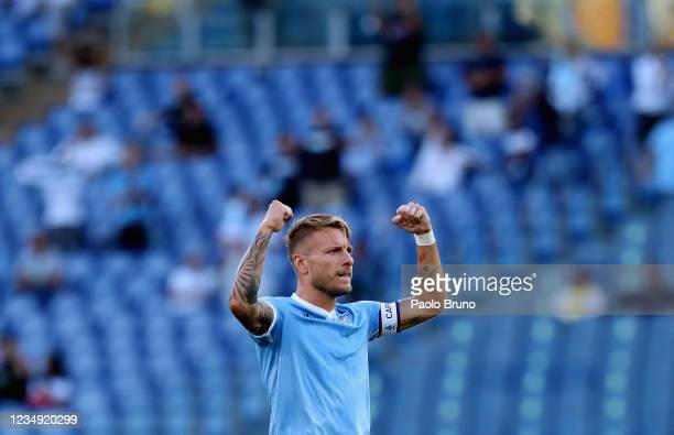 Ciro Immobile of SS Lazio celebrates after scoring the the team's second goal during the Serie A match between SS Lazio and Spezia Calcio at Stadio...