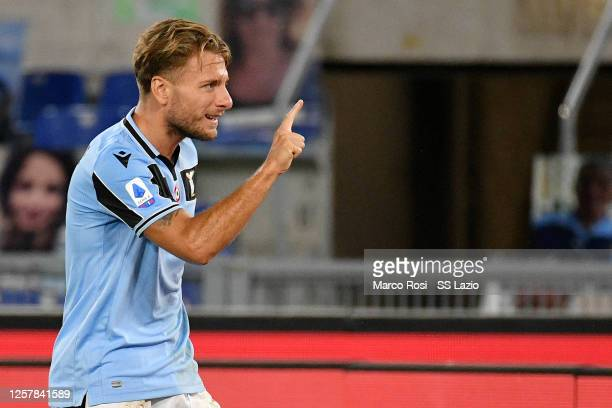 Ciro Immobile of SS Lazio celebrates after scoring their second goal during the Serie A match between SS Lazio and Cagliari Calcio at Stadio Olimpico...