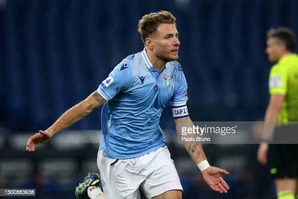 Ciro Immobile of SS Lazio celebrates after scoring their side's first goal during the Serie A match between SS Lazio and Cagliari Calcio at Stadio...