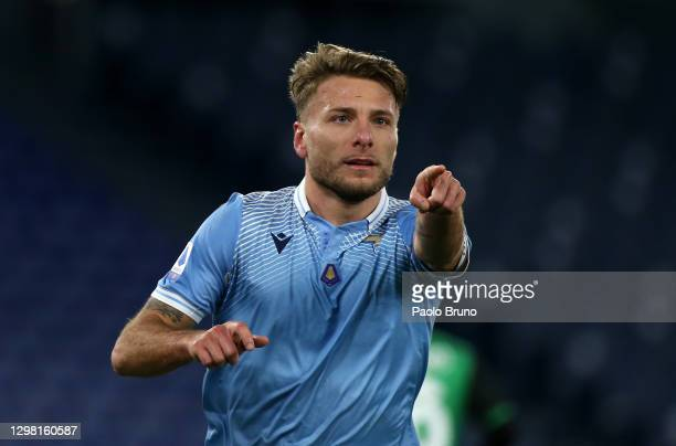 Ciro Immobile of SS Lazio celebrates after scoring their side's second goal during the Serie A match between SS Lazio and US Sassuolo at Stadio...