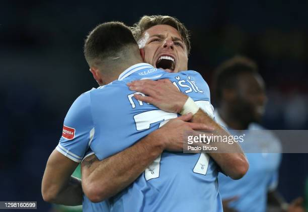 Ciro Immobile of SS Lazio celebrates after scoring their side's second goal with team mate Adam Marusic during the Serie A match between SS Lazio and...