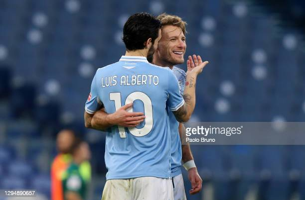 Ciro Immobile of SS Lazio celebrates after scoring their team's second goal Luis Alberto of SS Lazio during the Serie A match between SS Lazio and...