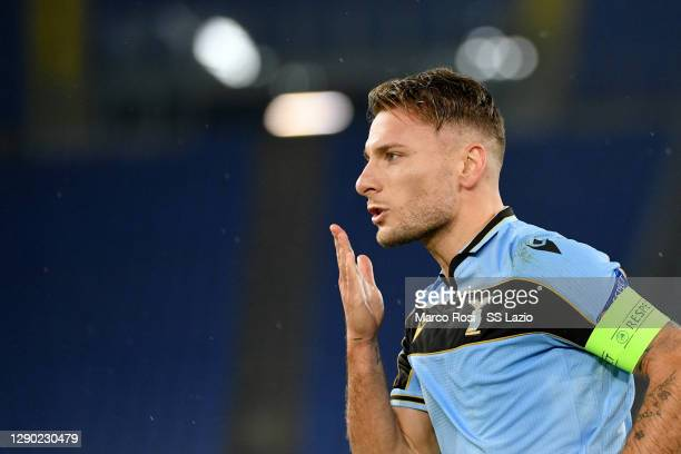 Ciro Immobile of SS Lazio celebrates after second scoring a penalty during the UEFA Champions League Group F stage match between SS Lazio and Club...