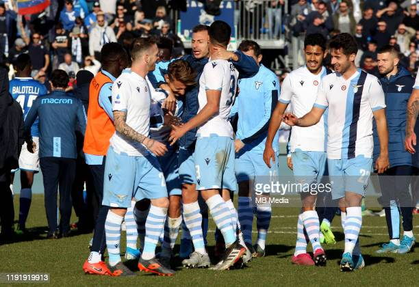 Ciro Immobile of SS LAZIO celebrates for the victory with is team mates during the Serie A match between Brescia Calcio FC and SS Lazio at Stadio...