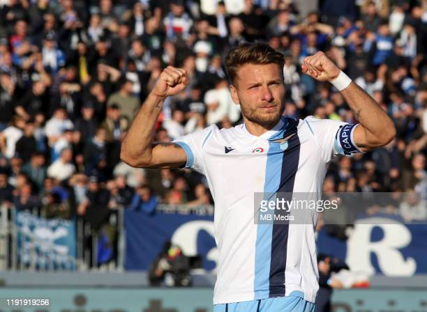 Ciro Immobile of SS LAZIO celebrates for the win after the Serie A match between Brescia Calcio FC and SS Lazio at Stadio Mario Rigamonti on January...