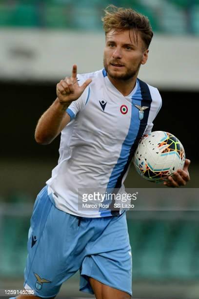 Ciro Immobile of SS Lazio celebrates frist goal a penalty during the Serie A match between Hellas Verona and SS Lazio at Stadio Marcantonio Bentegodi...