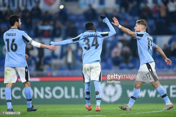 Ciro Immobile of SS Lazio celebrates scoring third goal during the Italian Cup match between Lazio and Cremonese at Stadio Olimpico Rome Italy on 14...