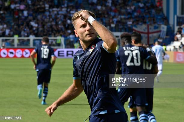 Ciro Immobile of SS Lazio celebrates the opening goal on a penalty during the Serie A match between SPAL and SS Lazio at Stadio Paolo Mazza on...