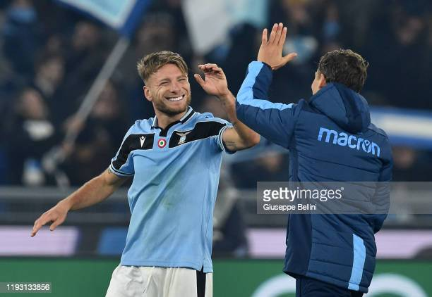 Ciro Immobile of SS Lazio celebrates the victory after the Serie A match between SS Lazio and SSC Napoli at Stadio Olimpico on January 11 2020 in...