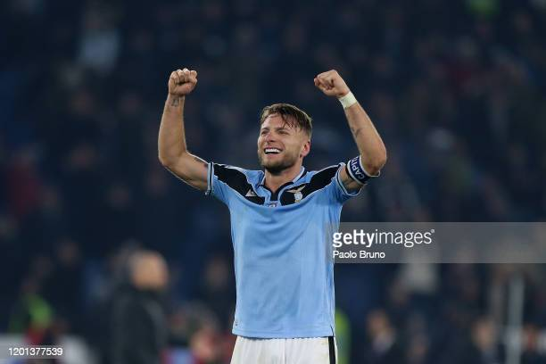 Ciro Immobile of SS Lazio celebrates the victory after the Serie A match between SS Lazio and FC Internazionale at Stadio Olimpico on February 16...