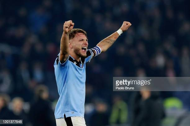 Ciro Immobile of SS Lazio celebrates the victory after the Serie A match between SS Lazio and FC Internazionale at Stadio Olimpico on February 16,...