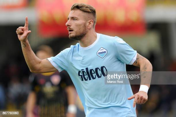 Ciro Immobile of SS Lazio celebrates their second goal during the Serie A match between Benevento Calcio and SS Lazio at Stadio Ciro Vigorito on...