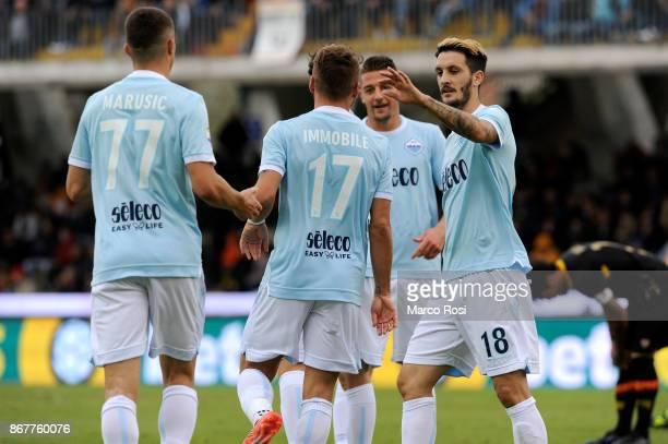 Ciro Immobile of SS Lazio celebrates their second goal during the Serie A match between Benevento Calcio and SS Lazio at Stadio Ciro Vigorito on...