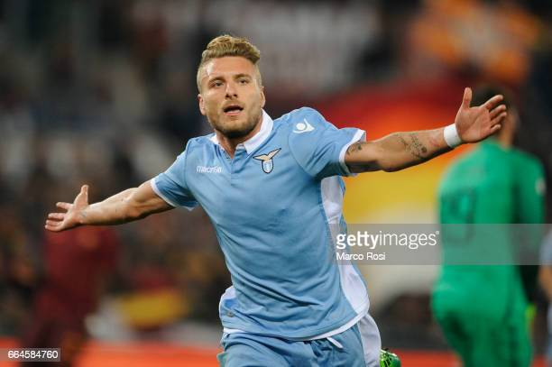 Ciro Immobile of SS lazio celebrates their second goal during the TIM Cup match between AS Roma and SS Lazio at Stadio Olimpico on April 4 2017 in...