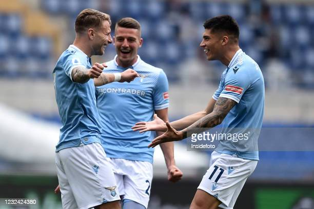 Ciro Immobile of SS Lazio celebrates with Sergej Milinkovic Savic and Joaquin Correa after scoring the goal 1-0 during the Serie A football match...