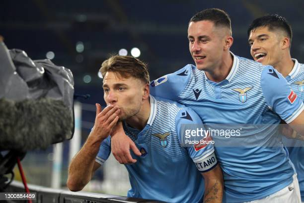 Ciro Immobile of SS Lazio celebrates with team mate Adam Marusic after scoring their side's first goal during the Serie A match between SS Lazio and...