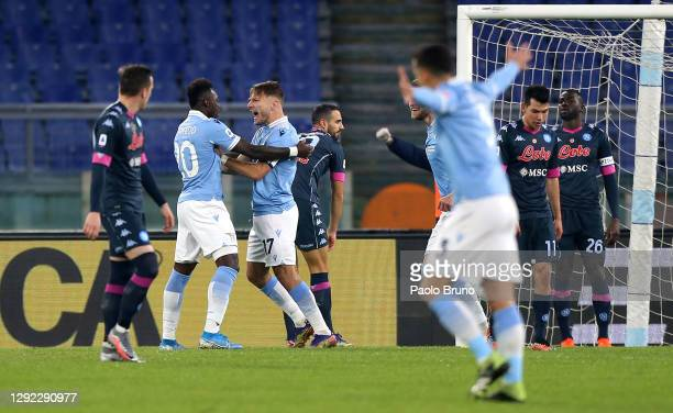 Ciro Immobile of SS Lazio celebrates with team mate Felipe Caicedo after scoring their sides first goal during the Serie A match between SS Lazio and...