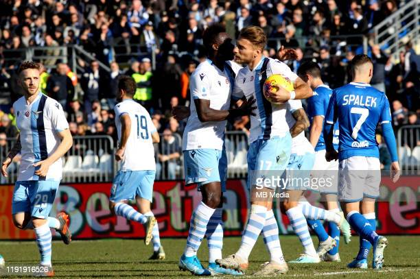 Ciro Immobile of SS LAZIO celebrates with team mates after is penalty goal 11 during the Serie A match between Brescia Calcio FC and SS Lazio at...