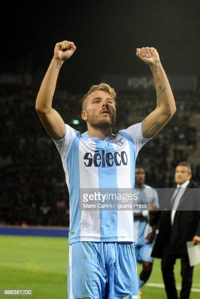 Ciro Immobile of SS Lazio celebtrates at the end of the Serie A match between Bologna FC and SS Lazio at Stadio Renato Dall'Ara on October 25 2017 in...