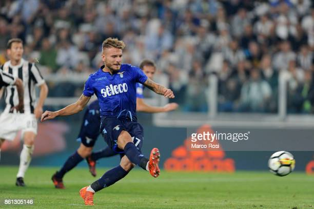 Ciro Immobile of SS Lazio clebrates a second goal a penalty with his team mates during the Serie A match between Juventus and SS Lazio on October 14...