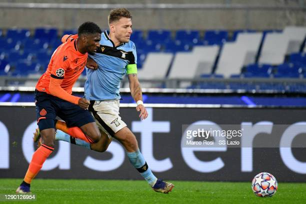 Ciro Immobile of SS Lazio compete for the ball with Clinton Mataof Club Brugge during the UEFA Champions League Group F stage match between SS Lazio...