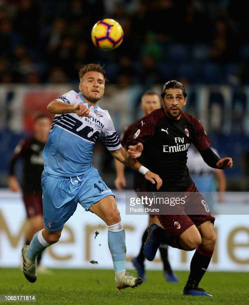 Ciro Immobile of SS Lazio competes for the ball with Ricardo Rodriguez of AC Milan during the Serie A match between SS Lazio and AC Milan at Stadio...