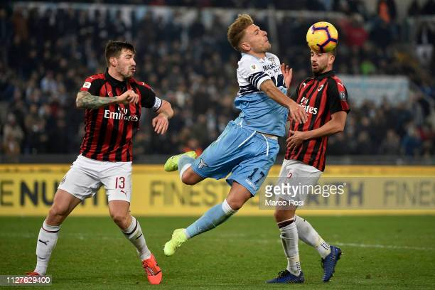 Ciro Immobile of SS Lazio controls the ball during the Coppa Italia semifinal first leg between SS Lazio and AC Milan on February 26 2019 in Rome...