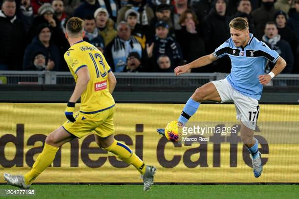 Ciro Immobile of SS Lazio controls the ball during the Serie A match between SS Lazio and Hellas Verona at Stadio Olimpico on February 05 2020 in...