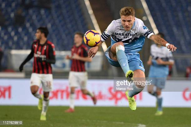 Ciro Immobile of SS Lazio controls the ball in the air during the Coppa Italia semifinal first leg between SS Lazio and AC Milan on February 26 2019...