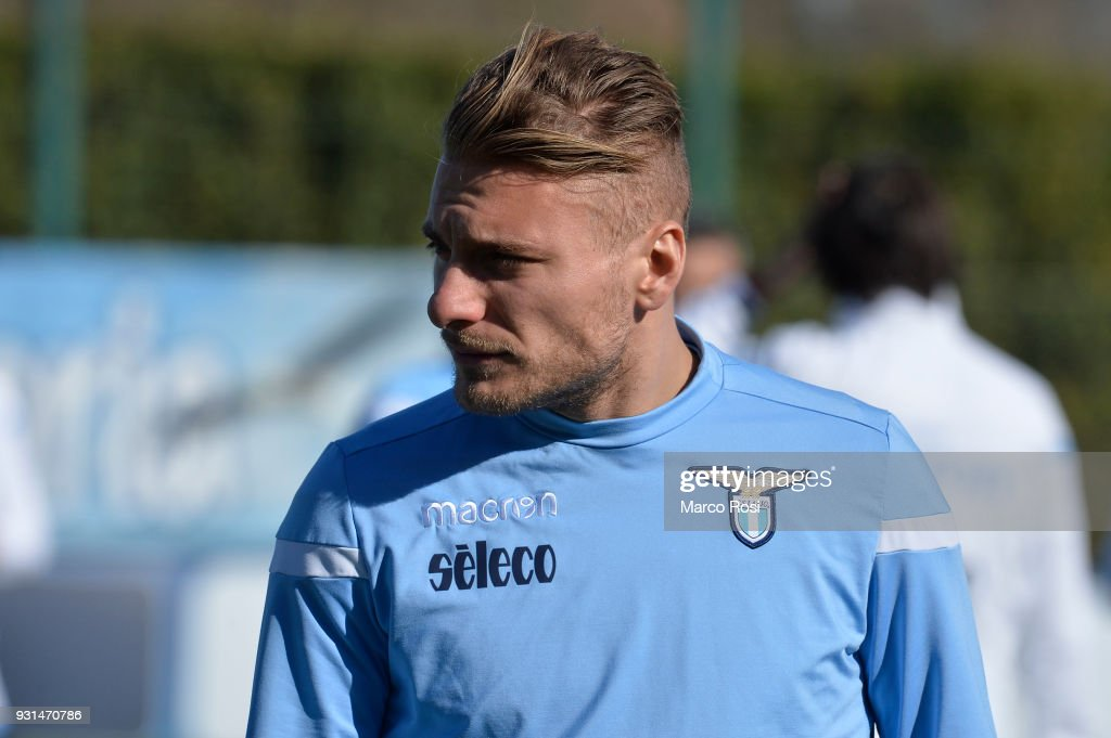 Ciro Immobile of SS Lazio during a training session on March 13, 2018 in Rome, Italy.