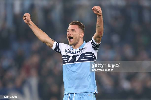 Ciro Immobile of SS Lazio during the Italian Serie A match between Lazio v AS Roma at the Stadio Olimpico Rome on March 2 2019 in Rome Italy