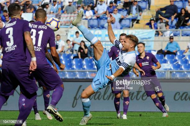 Ciro Immobile of SS Lazio during the Serie A match between SS Lazio and ACF Fiorentina at Stadio Olimpico on October 7, 2018 in Rome, Italy.