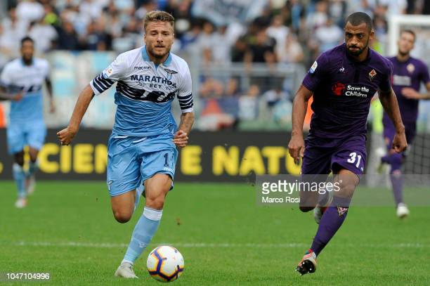 Ciro Immobile of SS Lazio during the Serie A match between SS Lazio and ACF Fiorentina at Stadio Olimpico on October 7 2018 in Rome Italy