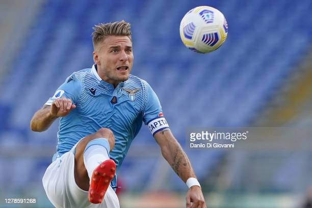 Ciro Immobile of S.S. Lazio during the Serie A match between SS Lazio and FC Internazionale at Stadio Olimpico on October 04, 2020 in Rome, Italy.