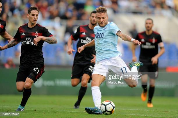 Ciro Immobile of SS Lazio during the Serie A match between SS Lazio and AC Milan at Stadio Olimpico on September 10 2017 in Rome Italy